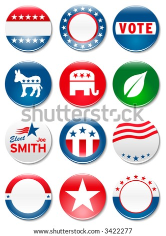 Set of 12 customizable political campaign buttons and badges - stock photo