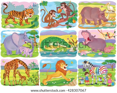 Set Of Cute African Animals Tiger Monkeys Rhinoceros Elephant Crocodile