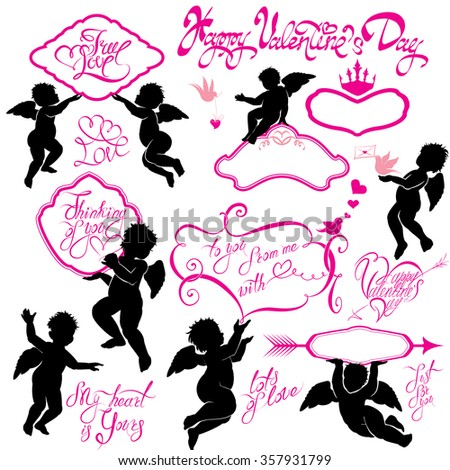 Set of cute angels, Calligraphic text Happy Valentine`s Day, hearts and birds isolated on white background. Elements for holiday card design elements.  Raster version - stock photo