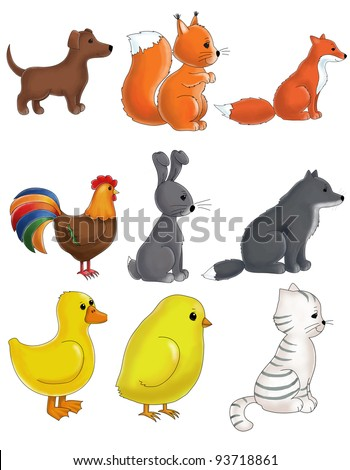 set of cute animals like dog, cat, chicken, cock, squirrel, fox, wolf, duck, rabbit isolated on white background