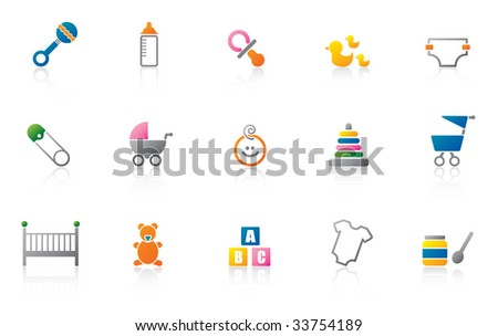 set of cute baby icons - high res JPG