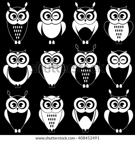 Set of cute black and white owls. Raster version - stock photo