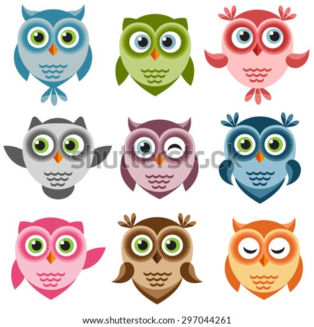 Set of cute cartoon owlets. Raster version - stock photo