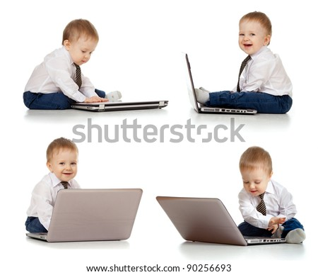 set of cute child using laptop - stock photo