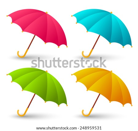 Set of cute color umbrellas - stock photo