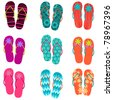 Set of cute, colorful fun flip flops illustration - stock photo
