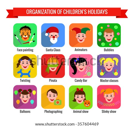 Set of cute colorful icons with kids. Children's entertainments for holidays.
