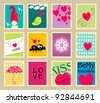 Set of cute, hand drawn style romantic post stamp illustrations for Valentine's Day - stock vector