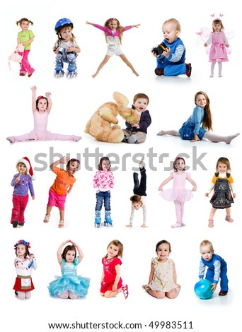 Set of cute little children isolated on white - stock photo