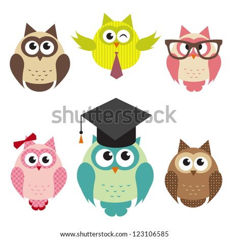 set of cute owls. Raster version - stock photo