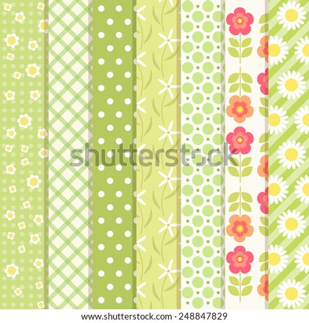 Set of cute primitive retro patterns in green spring colors