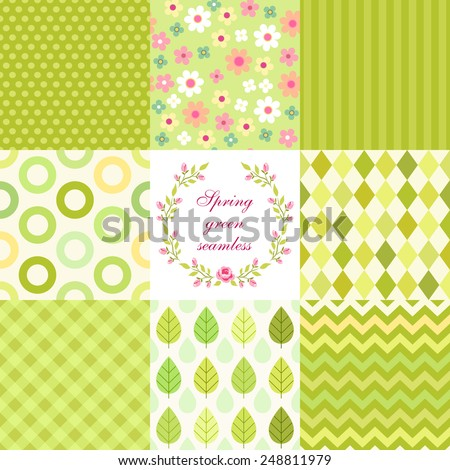 Set of cute retro primitive seamless patterns in spring green colors - stock photo