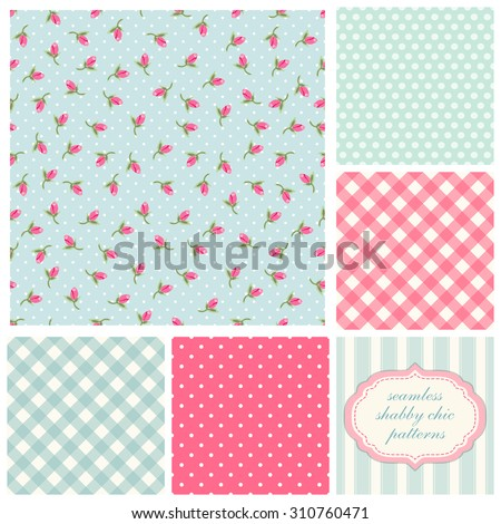 Set of cute seamless Shabby Chic patterns with roses, polka dot and plaid, ideal for kitchen textile or bed linen fabric or interior wallpaper design, can be used for scrap booking paper etc - stock photo
