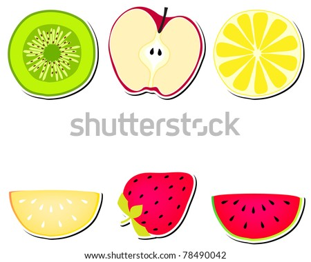 Set of cute stickers, labels with fruits - stock photo