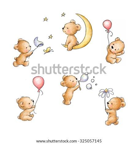 set of cute teddy bears - stock photo