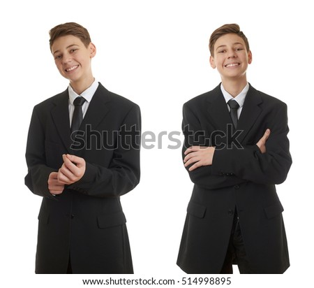 Cute Teenager Boy Back Business Suit Stock Photo 499455985 ...