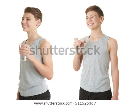 Set of cute teenager boy in gray shirt with glass of water over white isolated background, half body
