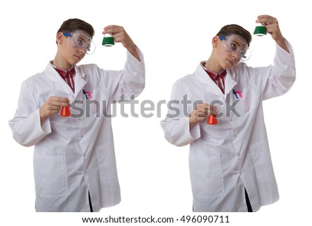 Set of cute teenager boy wearing white lab medic coat and protecting glasses with flask over white isolated background as science, experiment, healthcare concept