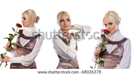 Set of cute young women photos. White background - stock photo