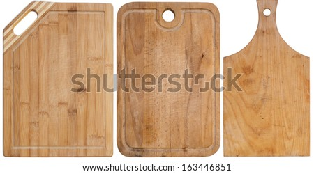 Set of cutting boards isolated on a white background - stock photo