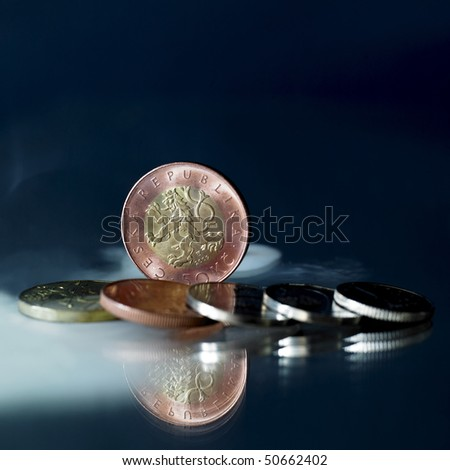Set of Czech coins - stock photo
