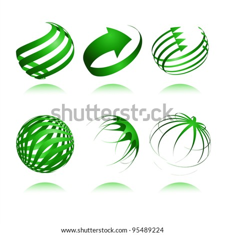set of 3d abstract vector sphere element - stock photo