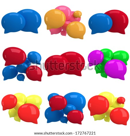 Set of 3d blank speech bubbles isolated on white. Chat symbols, conference concept. Render - stock photo