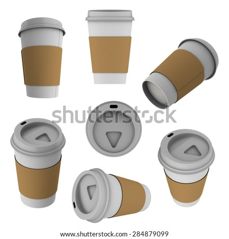set of 3d coffee cup Isolated on white background - stock photo