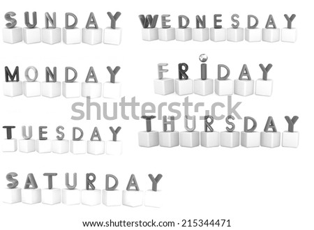 Set of 3d colorful cubes with white letters - days of the week on a white background - stock photo