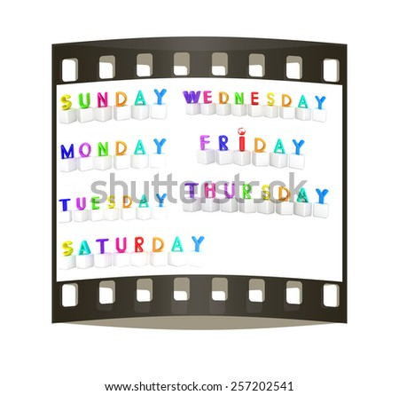 Set of 3d colorful cubes with white letters - days of the week on a white background. The film strip - stock photo