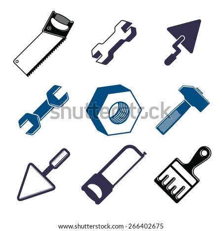Set of 3d detailed tools, repair theme stylized graphic elements isolated on white. Collection of classic work tools, industry icons. - stock photo
