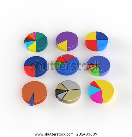 set of 3d different pie chart as concept - stock photo