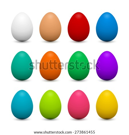 Set of 3d eggs in different colors for Easter. Objects for festive design. - stock photo