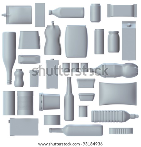 Set of 3d Food grade packaging on white - stock photo