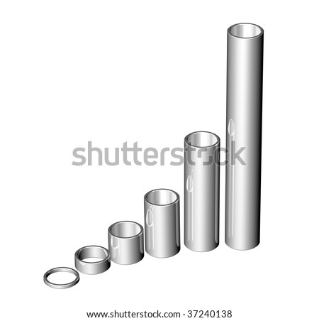Set of 3D illustrated steel pipes - stock photo