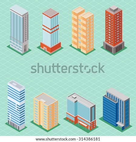 Set of 3d isometric tall buildings icons for map building. Real estate concept - stock photo