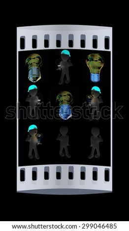 Set of 3d man with energy saving light bulb isolated on black. The film strip