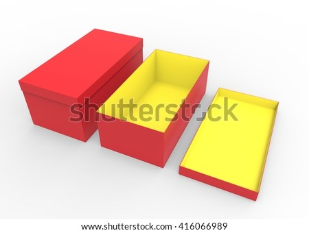 Set of 3d render red with yellow opened and closed cardboard shoe box on white background. For shoes, electronic device and other products. - stock photo