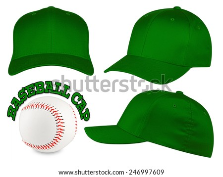 Set of dark green baseball caps with baseball - stock photo