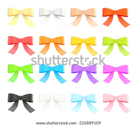 Set of decorational ribbon bows isolated over white background, set of sixteen color variations