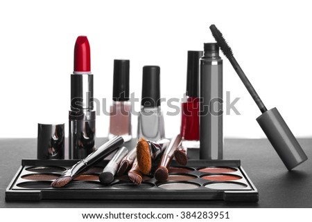 set of decorative cosmetics on a white background