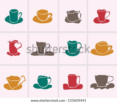 set of 12  decorative cups for your design - stock photo