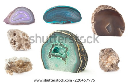 set of decorative geode rocks isolated on white