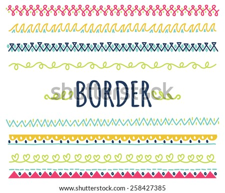 set of decorative hand drawn border - stock photo