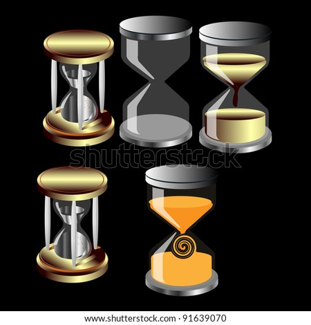 set of decorative hourglass clock