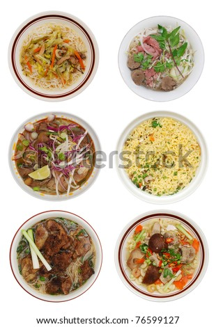 set of decorative noodle bowl in viet food - stock photo