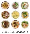 set of decorative noodle soups - stock photo
