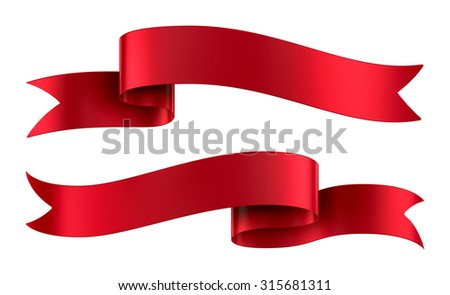 Set of decorative red ribbon banners isolated on white - stock photo