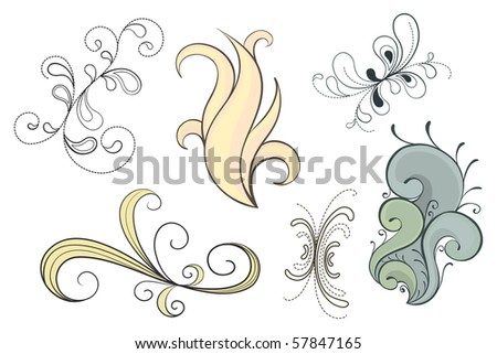 Set of decorative swirls in a variety of styles (vector also available) - stock photo