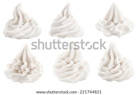 Set of decorative white swirls for dessert toppings conceptual of frozen yogurt, ice-cream or whipped cream, isolated on white - stock photo